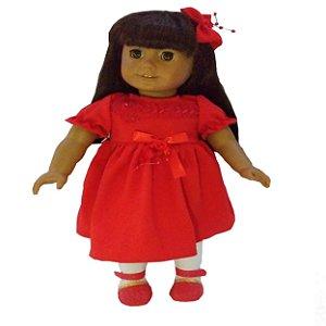 Roupa para Boneca - Kit Vestido Vermelho  - Veste Bonecas tipo American Girl e Our Generation - Cantinho da Boneca