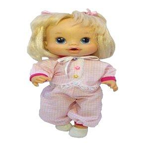Roupa para Boneca - Pijama Xadrez Rosa - Veste Bonecas tipo Baby Alive - Cantinho da Boneca