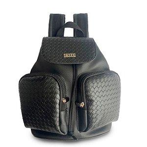 Mochila Feminina Preto com dois bolsos externos EX1057