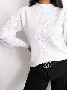 Blusa Fashion Tricot Trançada Branca