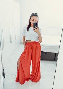 Calça Pantalona Fenda Lateral Colorida