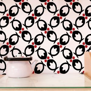 Papel de Parede Adesivo Abstrato Preto e Vermelho - Selective