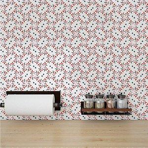 Adesivo Papel de Parede para Cozinha Abstrato Vermelho Azul e Branco