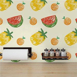 Papel de Parede Adesivo Frutas Melancia Laranja Abacaxi - Energy