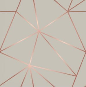 Papel de Parede Adesivo - Geométrico Rose Gold e Cinza - Zara