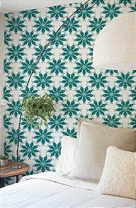 Papel de Parede Adesivo - Floral Flores Verde Esmeralda