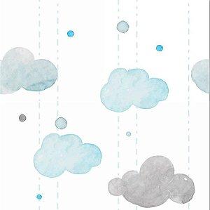 Papel de Parede Adesivo - Nuvens Aquarela Quarto Infantil