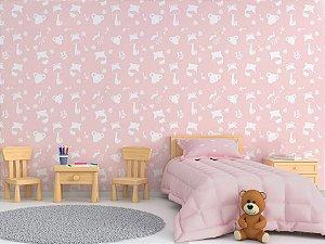 Papel de Parede Adesivo - Safari Rosa Quarto Infantil