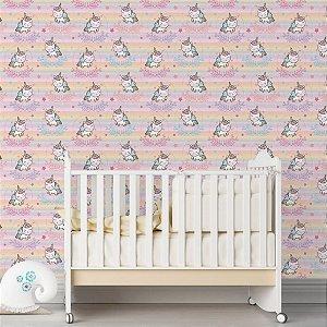 Papel de Parede Adesivo - Unicórnio Colorido Quarto Infantil