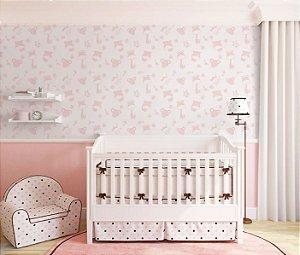 Papel de Parede Adesivo - Safari Quarto Infantil Rosa