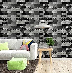 Papel de Parede Adesivo 3D - Colmeia Hexagono Preto Branco e Cinza - Hipnose