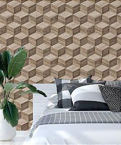 Papel de Parede Adesivo 3D - Madeira Marrom Bege Claro Cubo -  Wood Cube
