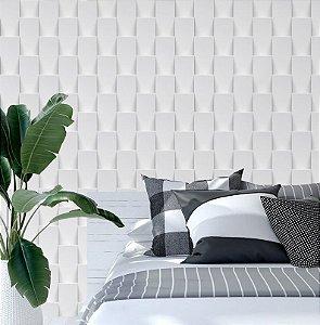 Papel de Parede Adesivo 3D - Tijolinho Vertical Branco Soft
