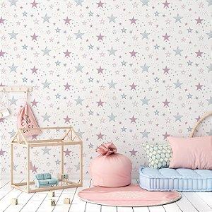 Papel de Parede Adesivo Estrela Rosa Cinza Quarto Infantil