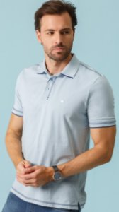POLO MASCULINA REGULAR FIT PIQUET AZUL CRISTAL