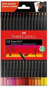 Lápis de Cor SuperSoft 15 Cores Quentes Faber Castell