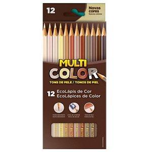 Lápis de Cor Sextavado 12 Cores Tom de Pele Multicolor