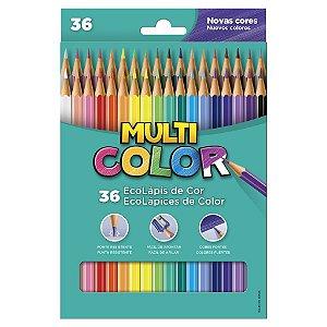 Lápis de Cor Sextavado 36 Cores Multicolor