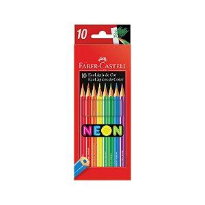 Lápis de Cor Sextavado 10 Cores Neon Faber Castell