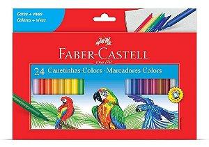 Canetinhas Faber-Castell  Regular Hidrocor Lavável - 24 Cores
