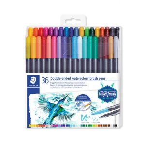 Caneta Brush Pen Staedtler Aquarela Ponta Dupla - 36 Cores