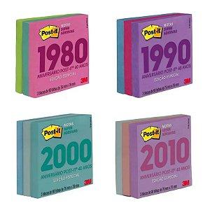 Bloco Adesivo Post-it Coleção Retro 76mm X 76mm 3 Blocos De 90 Folhas 3m