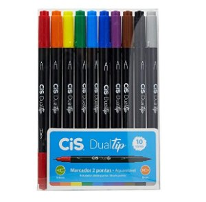 Caneta Brush Pen Cis P/ Lettering Dualtip - 10 Cores