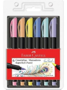 Caneta Brush Pen Supersoft 6 Cores Tom Pastel Faber Castell
