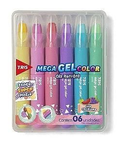 Giz de Cera Retrátil Tris Mega Gel Color Cores Pastel - 6 Cores