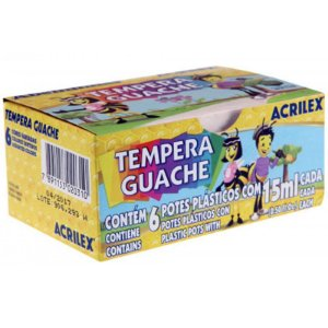 Tinta Guache 6 Cores 15ml Acrilex