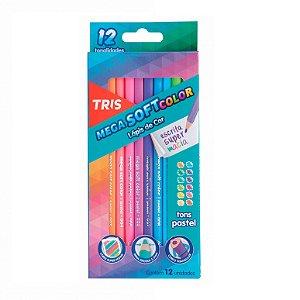 Lápis de Cor Tris Mega Soft Tons Pasteis 12 Cores
