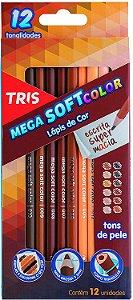 Lápis de Cor Tris Mega Soft Tons De Pele 12 Cores