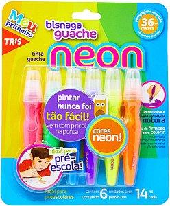 Tinta Guache Em Bisnaga Tris Neon 14 Ml 6 Cores