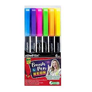 Caneta Brush Pen Neon 6 Cores Newpen
