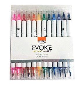 Caneta Marcador Artístico Evoke Brush Pen Dual 12 Cores Brw