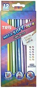 Lápis de Cor Tris Mega Soft Metálico 12 Cores