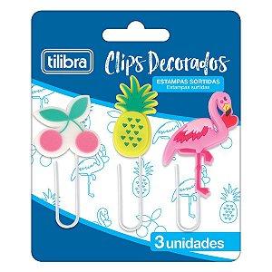 Clips 50mm Decorado Tropical c/3 Unidades Tilibra