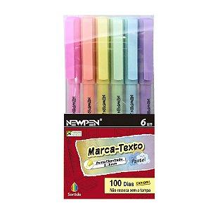 Caneta Marca Texto Office Pastel 6 Cores Newpen
