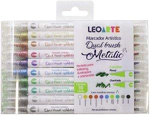Caneta Brush Pen Dual Metálica 10 Cores LeoArte