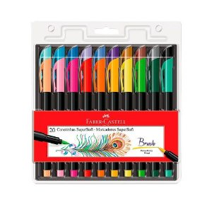 Caneta Brush Pen Supersoft 20 Cores Faber Castell
