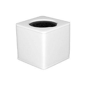 Canopla Branca Quadrada Microfone em Acrílico com Esponja