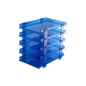 Organizador de Escritório para Mesa Azul 5 andares
