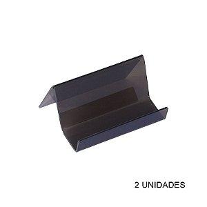Kit Porta Cartão de Visita de Mesa Preto Fumê - 2 unidades