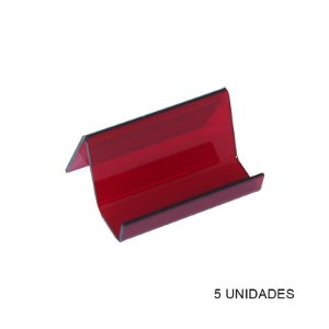 Kit Porta Cartão de Visita de Mesa Vermelho - 5 unidades