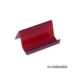 Kit Porta Cartão de Visita de Mesa Vermelho - 10 unidades