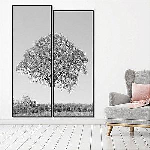 Par de Quadros Decorativos árvore em preto e branco