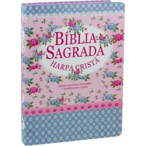 Bíblia com Harpa capa Semiflex Florida/Azul ARC