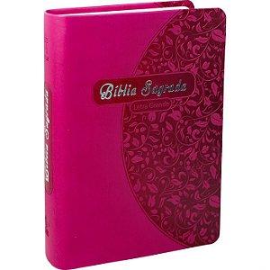 Bíblia Letra Grande capa Sintética Pink C/Folhas NTLH