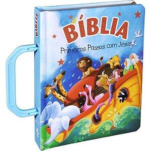 Bíblia Primeiros Passos Com Jesus Alça Azul