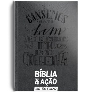 BIBLIA EM ACAO DE ESTUDO CAPA LUXO CINZA